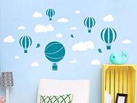 Wandtattoo Heißluftballons mit Wolken | Bild 4