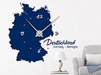 Wanduhr Wandtattoo Uhr Deutschland in blau