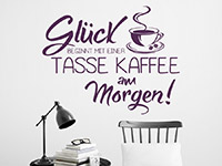 Motivierendes Wandtattoo Glück beginnt mit einer Tasse Kaffee... in Farbe