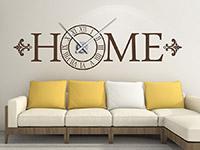 Wandtattoo Home Uhr im Wohnzimmer