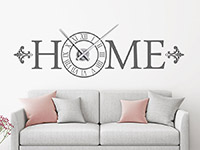 Wandtattoo Uhr Home römische Ziffern auf dunklem Hintergrund