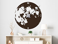Erdmond Wandtattoo Uhr Mond auf heller Wand