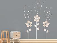 Wandtattoo Blumen mit Seifenblasen
