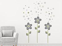 Wandtattoo Blumen mit Seifenblasen im Wohnzimmer