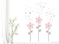 Blumen mit Seifenblasen Wandtattoo in grau und rosa