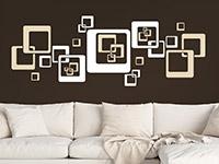 Retro Wandtattoo Komposition aus Quadraten auf dunkler Wand