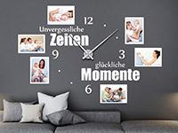 Fotorahmen Wandtattoo Uhr Unvergessliche Zeiten in weiß
