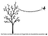 Wandtattoo Schmetterlingsbaum mit Wunschname Motivansicht