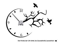 Wandtattoo Uhr mit Ast und Vögeln Motivansicht