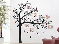 Wandtattoo Baum mit Fotorahmen und Katze im Flur