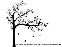 Wandtattoo Baum mit Fotorahmen und Katze Motivansicht
