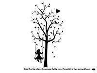 Wandtattoo Baum mit Mädchen und Herzen Motivansicht