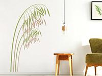 Wandtattoo Hafer im Wohnzimmer in hellbraun und oliv