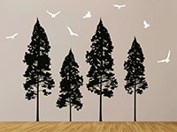 Wandtattoo Tannenwald mit Vögeln im Flur