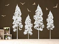 Zweifarbiges Tannenwald mit Vögeln Wandtattoo