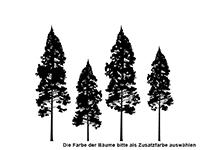 Wandtattoo Tannenwald mit Vögeln Motivansicht
