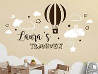 Wandtattoo Traumwelt mit Name und Heißluftballon | Bild 3