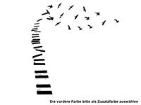 Wandtattoo Klaviertasten mit Vögeln Motivansicht
