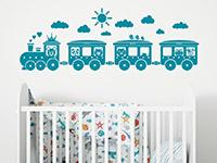Zug Wandtattoo Kinder Eisenbahn über dem Babybett