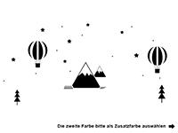 Wandtattoo Heißluftballons und Berge Motivansicht