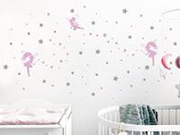 Wandtattoo Sternenhimmel mit Feen im Kinderzimmer