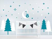 Wandtattoo Wald mit Sternen und Eule im Kinderzimmer