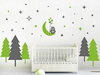 Zweifarbiges Wandtattoo Wald mit Sternen und Eule rund um das Babybett