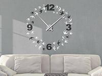 Zweifarbige Wandtattoo Schwalben Uhr in schwarz und weiß