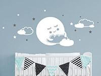 Wandtattoo Süßer Mond mit Wolken und Sternen | Bild 2