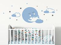 Wandtattoo Süßer Mond mit Wolken und Sternen | Bild 3