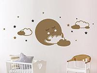 Wandtattoo Süßer Mond mit Wolken und Sternen | Bild 4
