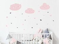 Zweifarbiges Wandtattoo Wolken mit Herzen in rosa und grau