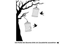 Wandtattoo Baum mit Vogelkäfigen Motivansicht