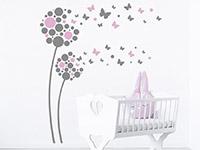 Wandtattoo Fantasieblumen mit Schmetterlingen
