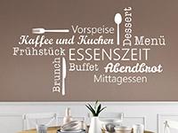 Wortwolken Wandtattoo Essenszeit in weiß auf dunkler Wandfläche