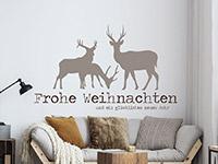 Wandtattoo Frohe Weihnachten mit Hirschen | Bild 2