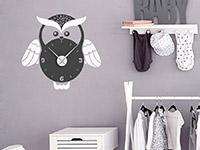 Zweifarbige Wandtattoo Eulenuhr in grau und weiß