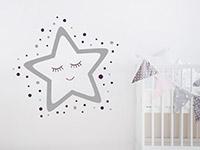 Zweifarbiges Wandtattoo Gute Nacht Stern auf heller Wand