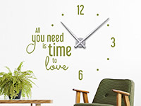 Wanduhr Wandtattoo Uhr All you need is time in Farbe