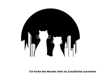 Wandtattoo Skyline mit Katzen Motivansicht