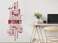 Wandtattoo Wortwolke Internet im Kinderzimmer