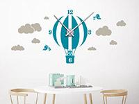 Wanduhren Wandtattoo Uhr Heißluftballon in Farbe