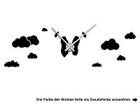 Wandtattoo Uhr Heißluftballon Motivansicht