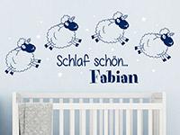 Schaf Wandtattoo Schäfchen mit Wunschname auf farbiger Wand