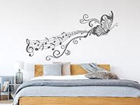 Wandtattoo Notenornament mit Schmetterling   Bild 3