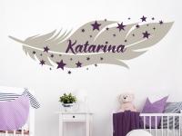 Kinder Wandtattoo Feder mit Wunschname und Sternen mit weißer Feder
