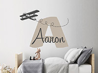 Wandtattoo Name mit Flugzeug | Bild 3