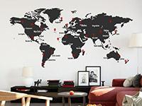 Wandtattoo Weltkarte mit Pins | Bild 2