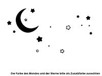 Wandtattoo Wolken mit Sternen und Mond Motivansicht