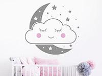 Wandtattoo Wolkengesicht mit Mond und Sternen